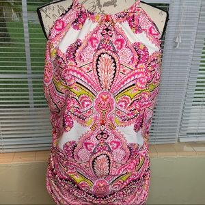 Cacique swimwear size 20 tanking top pink paisley